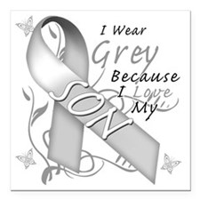 "I Wear Grey Because I Lo Square Car Magnet 3"" x 3"""