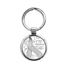 I Wear Grey Because I Love My Grand Round Keychain