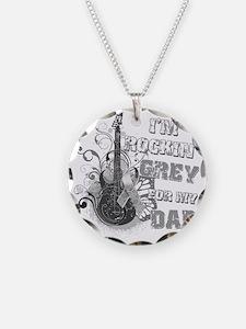 Im Rockin Grey for my Dad Necklace Circle Charm