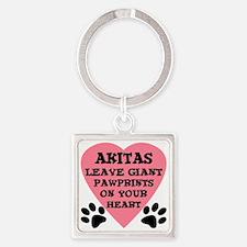 FIN-akita-giant-pawprints-heart Square Keychain