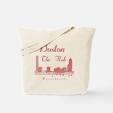 Boston_10x10_Skyline_TheHub_Red Tote Bag