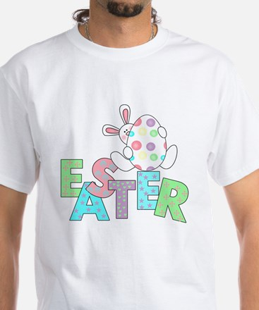 Bunny With Easter Egg White T-Shirt