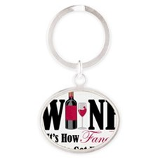 Wine-Get-Wasted Oval Keychain