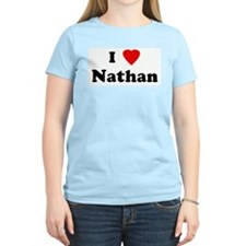 I Love Nathan Women's Pink T-Shirt