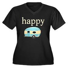 Personality_ Women's Plus Size Dark V-Neck T-Shirt