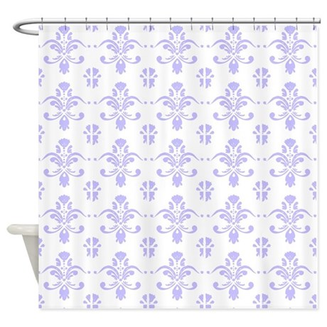 lavender damask pattern on white Shower Curtain by ... - photo#22