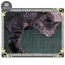 Napping Cat-Scroll-Green-M Puzzle