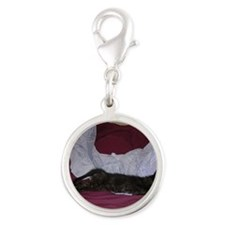 Miss Calico-M Silver Round Charm