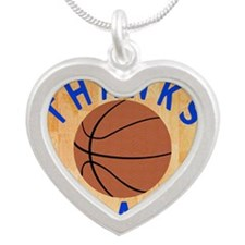 Basketball Coach Thank You G Silver Heart Necklace