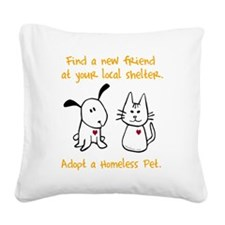 blackhomelessanimal Square Canvas Pillow