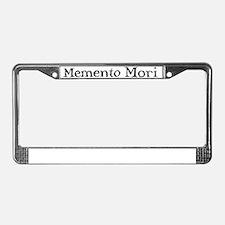 Menento Mori text black License Plate Frame