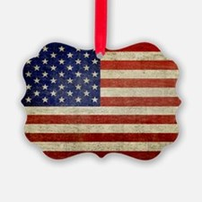 5x3rect_sticker_american_flag_old Picture Ornament