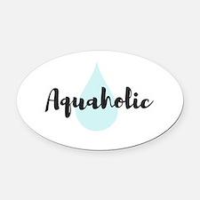 Aquaholic Oval Car Magnet