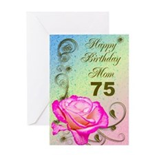 75th birthday card for mom, Elegant rose Greeting