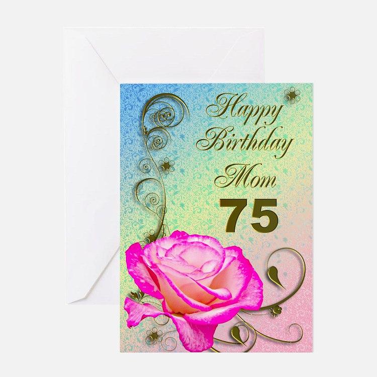 75th birthday card for mom, Elegant rose Greeting