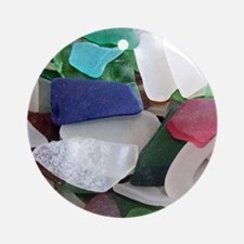Emmas Ocean Glass Note Card Round Ornament