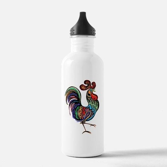 rooster cut 8 11 5x7 Water Bottle