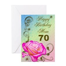 70th birthday card for mom, Elegant rose Greeting