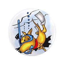 """Scuba Diving Dog 3.5"""" Button"""