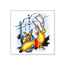 "Scuba Diving Dog Square Sticker 3"" x 3"""