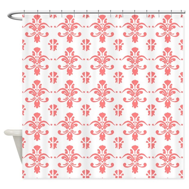 coral_damask_pattern_on_white_shower_curtain.jpg?color=White&height ...