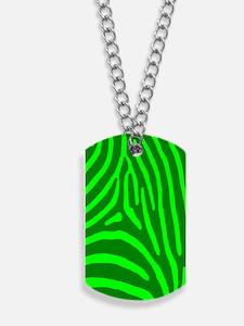 Green and Lime Zebra Stripes Dog Tags