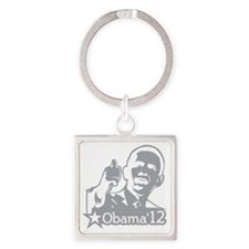 OBAMA_CHARCOAL_for dark2-01 Square Keychain