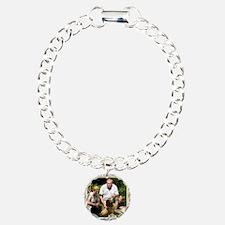 Personalizable Golden Flowers Frame Charm Bracelet
