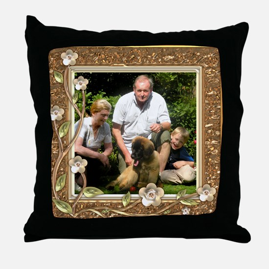 Personalizable Golden Flowers Frame Throw Pillow
