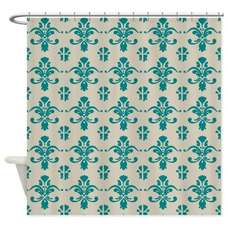Teal damask pattern on beige shower curtain by retroculture for Beige damask curtains
