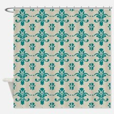 Teal And Tan Shower Curtains