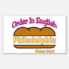 Order In English, Philly Chee Sticker (Rectangular