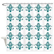 Dark turquoise damask pattern on white Shower Curt