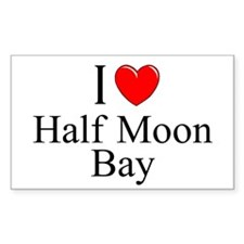 """I Love Half Moon Bay"" Rectangle Decal"