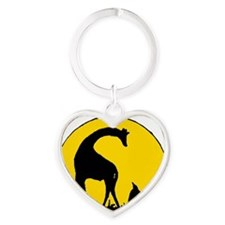 Penguin And Giraffe Heart Keychain