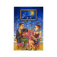 Couple in love and a Siamese cat Magnets