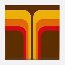 Retro Geometric Brown Tile Coaster