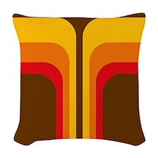 Retro Geometric Brown Woven Throw Pillow