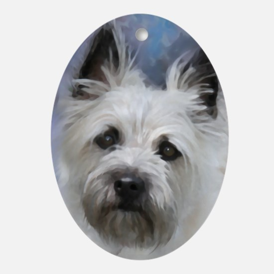 Cute Dog painting Oval Ornament