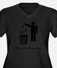 litterthink2 Women's Plus Size Dark V-Neck T-Shirt