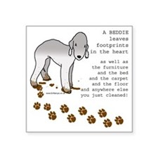"footprints-bedlington copy. Square Sticker 3"" x 3"""