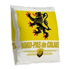 Nord-Pas de Calais (Flag 10) Burlap Throw Pillow