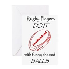 Rugby Funny Shaped Balls 1500 Greeting Card