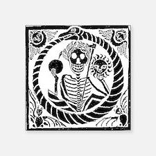 "USESkeleton and snake squar Square Sticker 3"" x 3"""