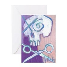 skull and scissors Greeting Card
