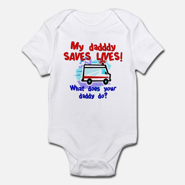Daddy Saves Lives Ambulance Infant Bodysuit
