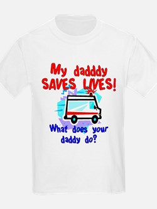 Daddy Saves Lives Ambulance Kids T-Shirt