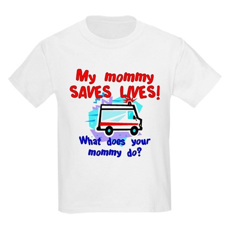 Mommy Saves Lives Ambulance Kids T-Shirt