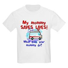 Mommy Saves Lives Ambulance Kids T-Shirt