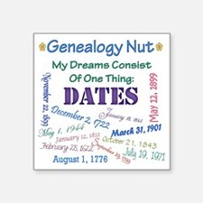 "GENEALOGYNUTdreamindatesFIN Square Sticker 3"" x 3"""